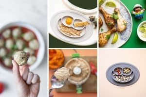 collage of 5 different ways to serve meat to babies