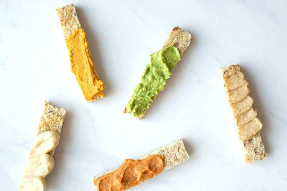Toast strips for baby led weaning with five different toast toppings