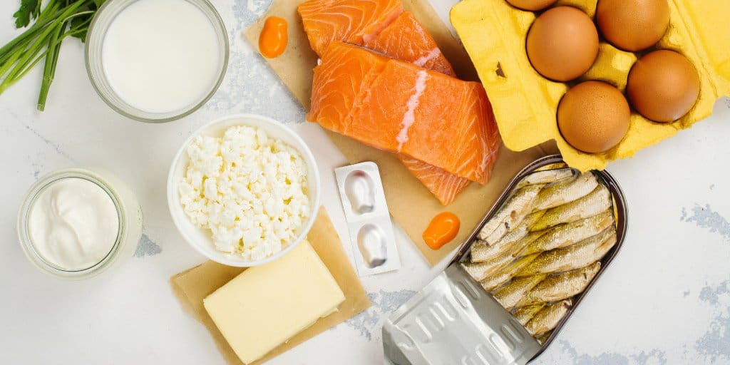 foods containing Vitamin D: eggs, salmon, sardines, yogurt, butter