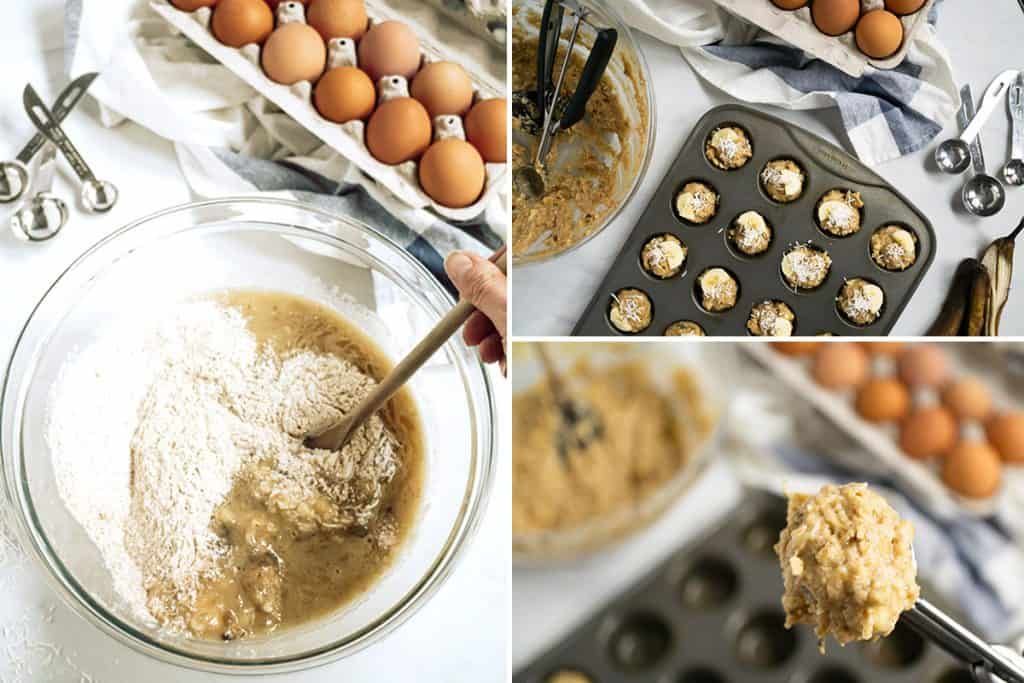 collage of photos for making coconut baby banana muffins. Left: image of the wet and dry ingredients being mixed together. Top right: mini muffin filled, read to go in the oven. Bottom right: mini muffin scoop filled with muffin batter.