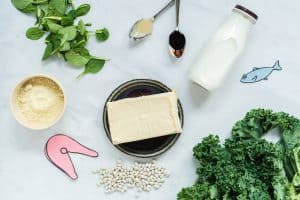 Flat lay image of non dairy calcium foods for babies and toddlers